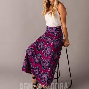 NWT Agnes & Dora Maxi Skirt Fuchsia Boho